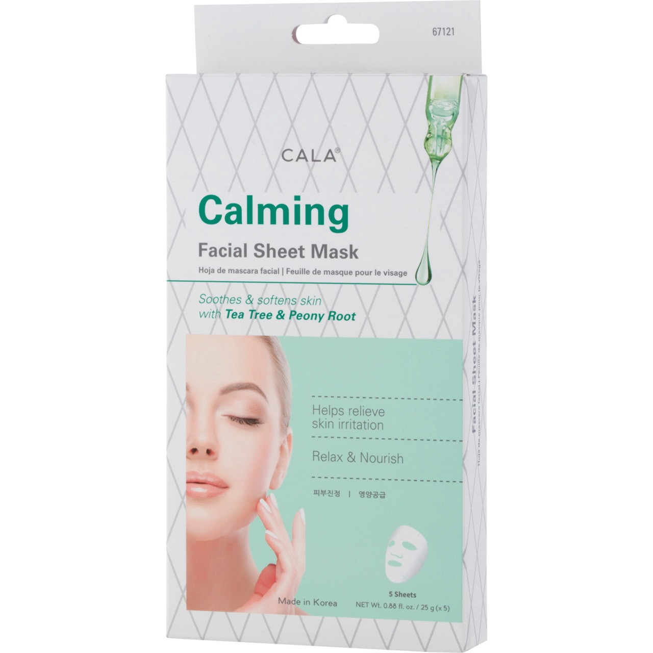 Gesichtsmaske - Calming Facial Sheet Mask - Tea Tree & Peony Root (5 Stück)