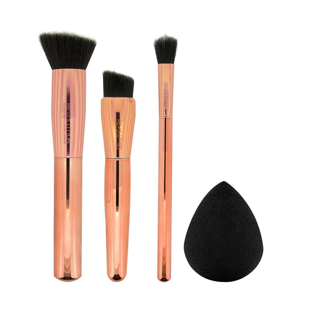 makeup revolution 3 teiliges pinsel set mit schwamm. Black Bedroom Furniture Sets. Home Design Ideas