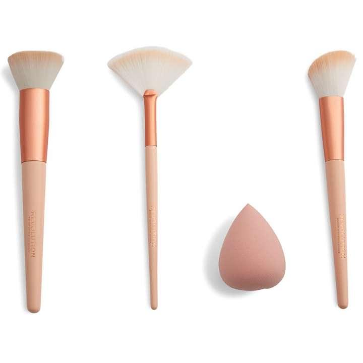 3-Teiliges Pinselset & Schwamm - Sculpt & Glow Brush Set With Blending Sponge